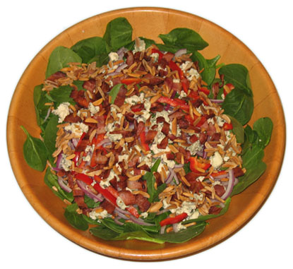Blue Cheese, Almond, Bacon, Spinach Salad
